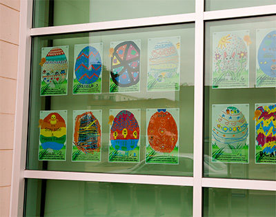 Student artwork on display at library