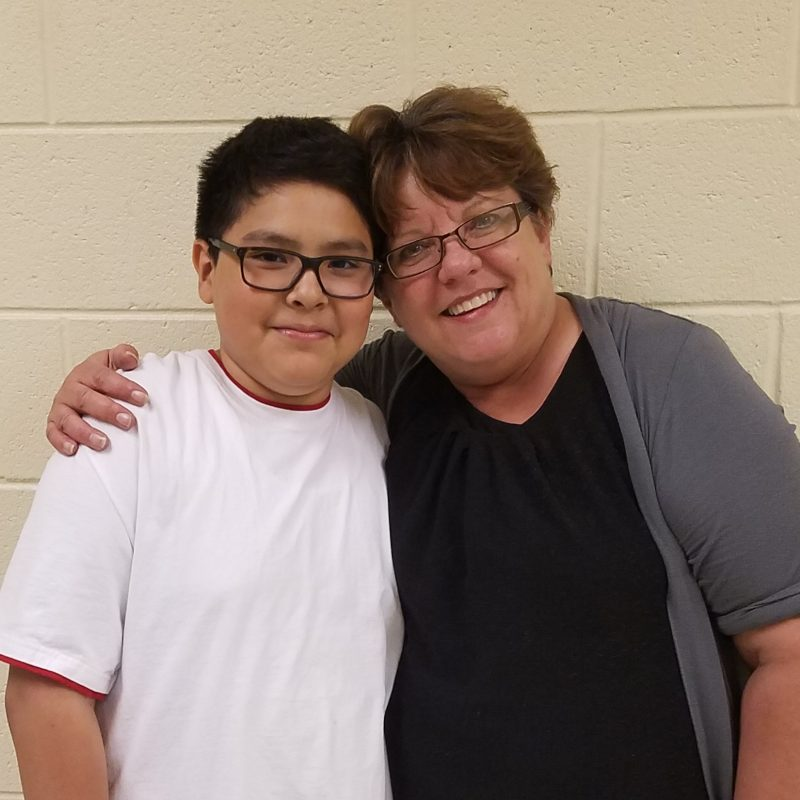 Mrs. Stager with one of her students